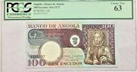 1973 Angola 100 Escudos SCWPM# 106 PCGS Ch New 63 #35369 None Finer, POP 1