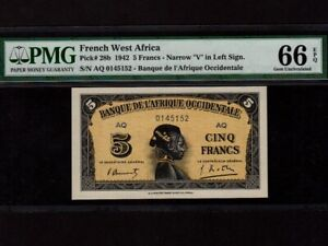 French West Africa:P-28b,5 Francs,1942 * PMG Gem UNC 66 EPQ *