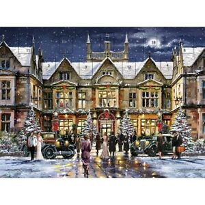 Snowy Glamorous 1930 Hotel Advent Calendar - 24 Doors Glitter Finish Christmas