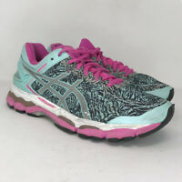 Asics Womens Gel Kayano 22 Teal Pink Black Running Shoes Lace Up Size 12.5