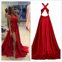 Red A-line Satin Prom Evening Gown Side Slit Bridesmaid Cocktail Party Dress