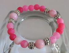 Pink Frosted Agate Pink Faceted Jade Gemstone Bracelet Yoga Protection Bracelet