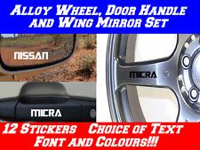 12x Personalised Stickers Wheel, Door Handle,NISSAN MICRA ALMERA NAVARA NOTE