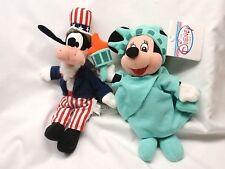 "Disney Uncle Sam Goofy & Statue Liberty Minnie Mouse 8"" Plush Bean Bags - Mint"