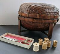 VINTAGE Woven Rattan Sewing Basket With Legs Full of Sewing Items Lot
