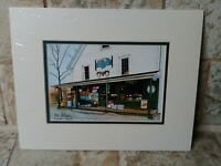 """R N Cohen Portland Maine Artist Signed Matted 8"""" x 10"""" Fitch's General Store"""
