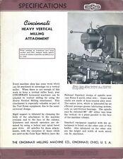 Equipment Brochure - Cincinnati - Heavy Vertical Milling Attachment 1941 (E4441)