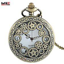 Antique Bronze Skeleton Gear Steampunk Vintage Quartz Pocket Watch Necklace Gift