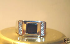 Ladies Dress Ring Square Black Stone with Crystals sz 8