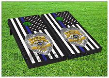 VINYL WRAPS Police Blue line Vintage USA Flag Cornhole Board DECALS Sticker 1293