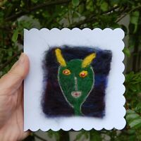 Handmade Needle Felt Blank Greetings Card or Picture To Frame - Alien