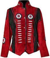 Western Cowboy Women's Fringed Suede Leather Jacket Red