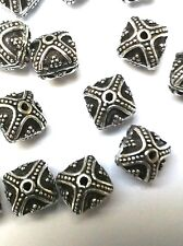 10 premium antique  silver plated  copper embellished 8 mm square focal beads .