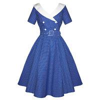 Hell Bunny Claudia Blue Polka Dot Nautical 1950s Rockabilly Vintage Summer Dress