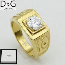 DG Men's Gold Stainless Steel Brilliant CZ Wedding Ring 7 8,9 10 11 12 13* BOX