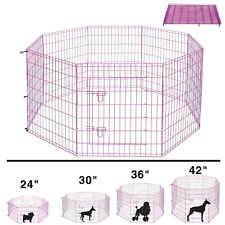 24'' 30'' 36'' 42'' Dog Exercise Playpen Metal Pet Crate Fence Cage Collapsible