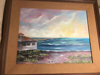 "Large Rochelle ""Florida Beach And Ocean Scene"" Acrylic Painting - Signed/Framed"