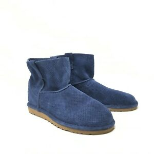 UGG 1016852 Perforated Tawny Blue Suede Womens Ankle Boots sz US 6 EUC