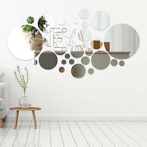 32PCS Circle Mirror Tiles Wall Decal Stick On Bedroom Home Art Decor