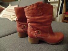 Tamaris Stiefeletten Boots Stiefel Winter Leder cognac rot braun Gr. 38 FAST NEU