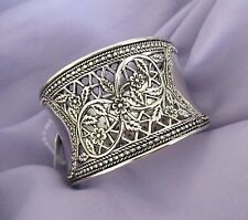 "Filigree Style Design Silver Tone Bangle Bracelet.  1 5/8"" Wide.  NWT"