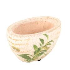 Übertopf Keramik Blumentopf creme Oliven oval 16 x 9 cm für Innen Antik-Optik Pf