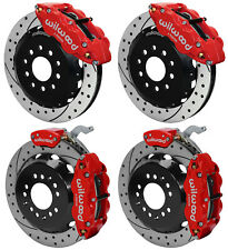 "WILWOOD DISC BRAKE KIT,FRONT & REAR WITH PARKING,88-96 CORVETTE,13"" DRILLED,RED"
