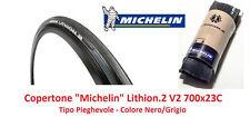 2 Copertoni Michelin Lithion 2-V2 Nero 700x23C per Bici da corsa 2 gomme