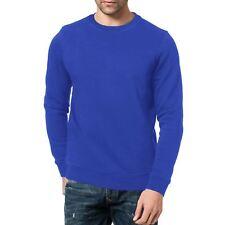 Mens Sweat Shirt Brushed Fleece Pullover Sweater Jumper Work Crew Neck Sport Top Royal Blue M