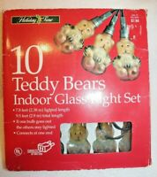 Vintage Glass Teddy Bear Christmas Light Set Indoors Only Working!!