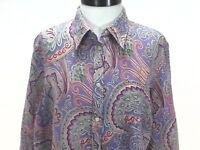 RALPH LAUREN Linen Button Front Shirt LRL Purple Multi Paisley Womens 1X $99.50