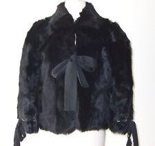 VALENTINO R.E.D. Black Lamb Fur Tie Coat Jacket 46 10