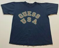 Vintage 90s Guess Usa T-Shirt Size XL Blue Spell Out Retro 1994