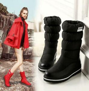 Womens Down Snow Boots Winter Waterproof Thermal Fur Lined Mid Calf Boots