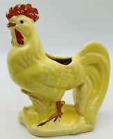 """Very Early Yellow Rooster Planter USA Art Pottery  Vintage 5 1/2""""H. X 4 3/4L."""
