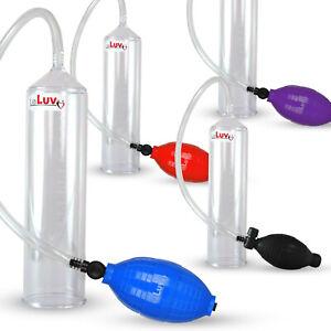 """LeLuv EasyOp Penis Pump Bgrip Ball Handle 2.25"""" Cylinder No Sleeve Choose Color"""