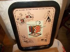 """Vintage 1950's Tin Litho Metal TV BBQ Snack Serving Tray - """"Hang-it-All"""" - Pink"""