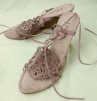 J Renee Wos Shoes Heels RADIUS US9W Lavender Suede Leather Wedge Sandals 319