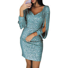 Womens Bodycon Long-Sleeve Shiny Sequins Mini Dress Cocktail Party Evening Sexy