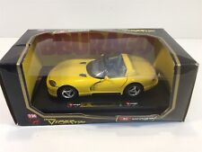 1993 Dodge Viper RT/10 Yellow Burago 1:24 NIB Die Cast Metal with Plastic Parts