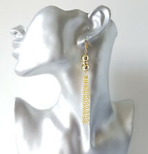Gorgeous 9cm long GOLD tone - diamante - bead & chain tassel drop earrings