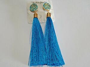 Vintage Boho Aqua Long Tassel Drop Earrings Cotton Silk Fabric Fashion Jewellery