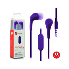 OEM Motorola Hands Free 3.5mm Earbuds 2 Premium Stereo W/Remote and Mic Purple