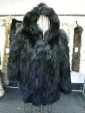 BRAND NEW BLACK FOX FUR BOMBER JACKET COAT W/HOOD MAN MEN