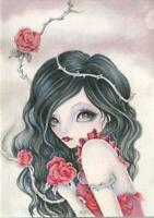 ACEO GORGEOUS GIRL RED ROSES THORNS RAVEN BLACK HAIR HAZEL EYES GARDEN PAINTING
