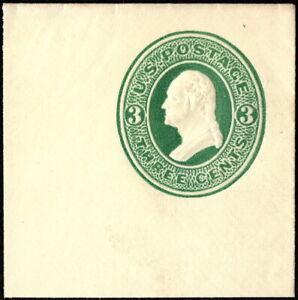 US - 1870 - 3 Cents Green on Cream Paper Postal Stationery Cut Square # U84 Mint