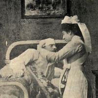 Antique 1907 Nurse Bandaging Her Patient Hospital Postcard Limerick Ireland