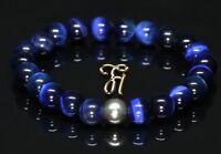 Tigerauge 925er sterling Silber Armband Bracelet Perlenarmband blau 8mm
