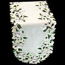 """European Yellow Table Runner/Scarf with White Daisy and Green Leaves 14"""" X 28"""""""