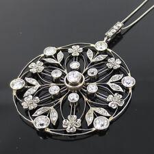 Antique 3.50ct Old Mine Cut Diamond Platinum Flower Pendant on a Platinum Chain